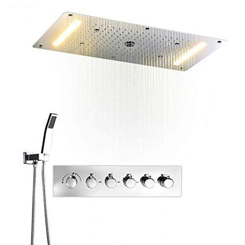 MEILINYU Multifunción Juegos de baño Ducha SUS304 Mezclador termostático Cascada Las precipitaciones SPA Techo Lluvia Grande Led Conjunto de Ducha