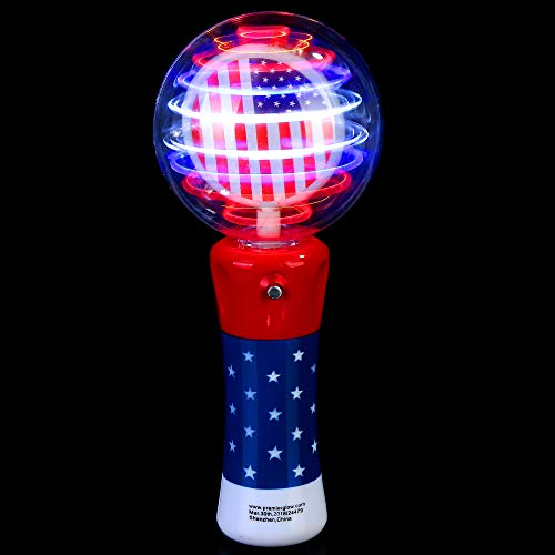 Fun Central LED Light Up Galaxy Spinner Wand for Kids - 4th of July Party Favors - Red White Blue