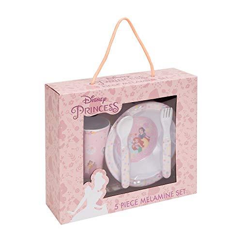 Widdop Disney Princess Ariel Snow White Cinderella 5 Piece Boxed Melamine Children's Breakfast Dining Set DI606