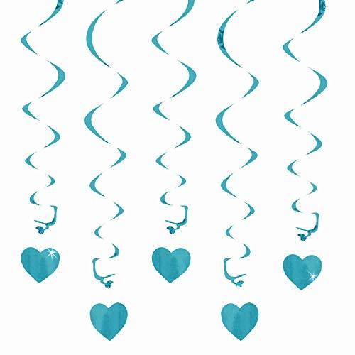 Oblique-Unique® Deckenhänger Spiral Girlanden mit Herzen - Farbe wählbar (Türkis)
