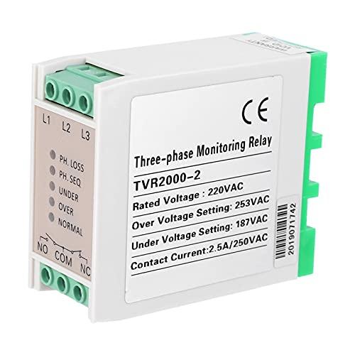 Relé de Voltaje Relé de Control Relé de protección de Circuito de 220 VCA Protección de pérdida de Fase Estable para compresores de Aire/Motores eléctricos Componentes electrónicos