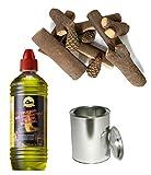 Moritz - Set de 4 botes de gel combustible de 1000 ml + 4 botes de 500 ml con tapa + juego de 11 piezas de madera de cerámica para quemador de chimenea, estufa, combustión de seguridad