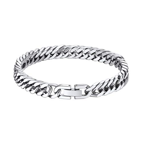 bandmax 316L Stainless Steel Link Chain Bracelet for Men Women 19CM/7.5in Length 8MM/0.3in Width Heavy Thickness Chunky Curb Cuban Hand Chain Punk Hip Hop Rapper Dancer Singer Jewelry