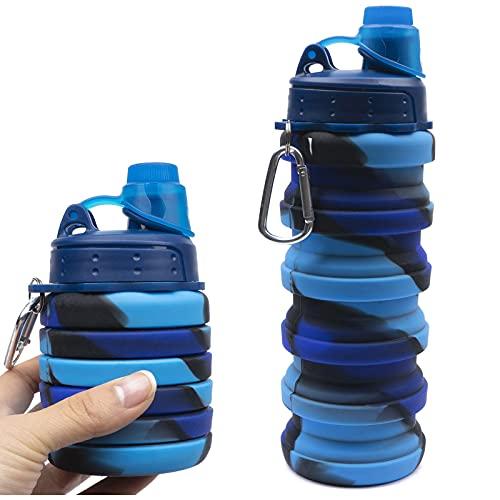 Botella de agua deportiva plegable para camping, ciclismo, ligera, sin BPA, silicona de grado alimenticio, para niños y niñas (500 ml, color azul camuflaje)