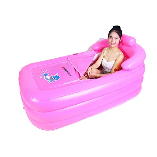 Opblaasbare Bad, Bad Box Fumigatiediensten Machine streamen Room Sweat Box Opblaasbare Emmer Sauna Neem een bad bad met elektrische pomp Vouw Dual Purpose Individuele (blauw) (Color : Pink)