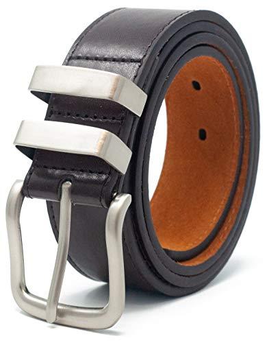 Ossi 38mm in pelle foderato Cintura con Double Loop - Marrone (vita dimensioni 142cm - 152cm)