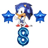 Kfdzsw Globos Sonic Theme Foil Blowoon Boy Girl Cumpleaños Decoraciones Número Globos Set Baby Shower Fiesta Suministros Fiesta (Color : Style 8)