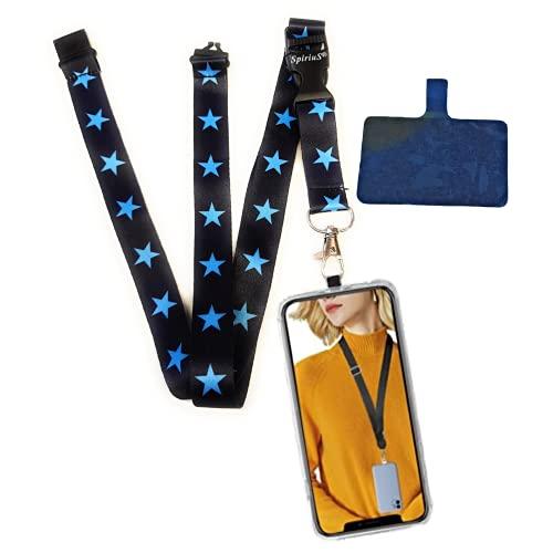 SpiriuS Correa universal para el cuello con adhesivo desmontable compatible con todos los teléfonos inteligentes para iPhone, Google Pixel LG HTC Huawei (estrellas azules)