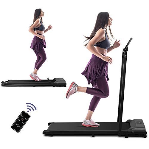 Under Desk Electric Treadmill, 2 in 1 Folding Treadmill for Home, 2.25HP Walking Running...