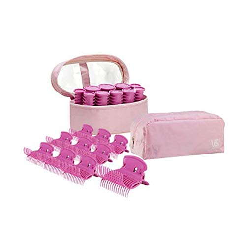 VIDAL SASSOON Portable Electric Instant Heat Hair Roll Set Compact Size Hot Rollers with Heated Clips Hair Roll Fit for Traveller Free voltage(110V~220V) Korea