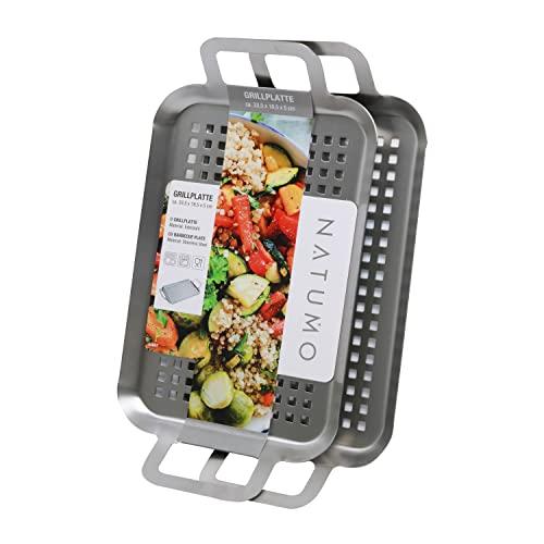 NATUMO ® 2er Set Edelstahl Grillschale 25 x 16 x 1,5 cm, Grillkorb für Fleisch & Gemüse, Gemüsekorb Grill-Zubehör rostfrei