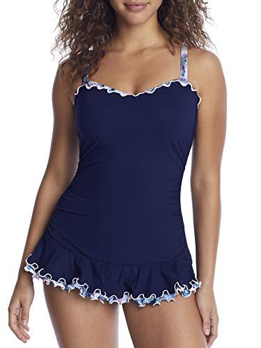 Profile by Gottex Damen Cup Sized Sweetheart Swimdress One Piece Swimsuit Badeanzug, Navy, 42