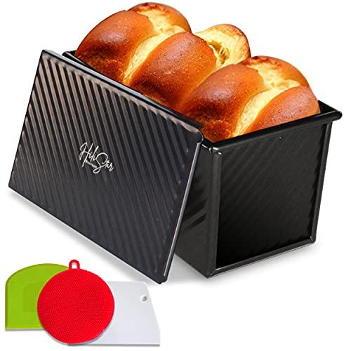 HiliStar Pullman Loaf Pan Set - with Lid Cover, Dough Scraper, Cutter, Rubber Sponge - Aluminum Pain De Mie Non-stick Bread pan with lid, Black Baking box – Toast Bread bakeware - 8.3'x4.7'x4.4'