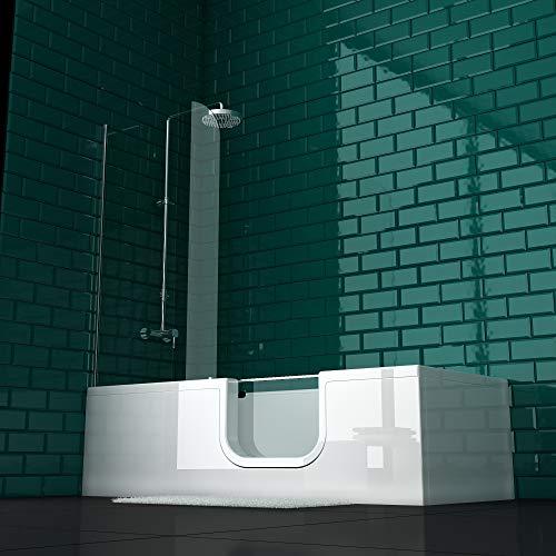 VitrA Conforma Combo Rechteck-Badewanne Einstieg Rechts | inkl. Ab- und Überlaufgarnitur | Fußgestell vormontiert | Herausnehmbare Tür mit Sicherheitsverriegelung für erleichterten Einstieg