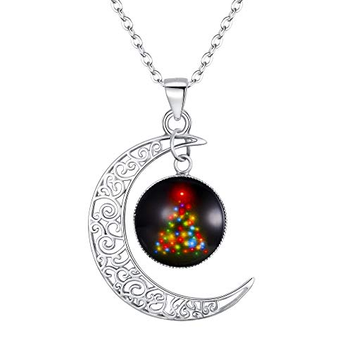 Clearine 925 Sterling Silver Necklace for Women Christmas Tree Galaxy & Crescent Moon Glass Bead Pendant Necklace Black