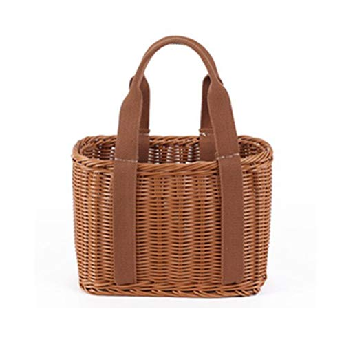 Rattan-like Willow Wicker Handmade Shopping Basket Portable Flower Basket Fruit Basket Picnic Basket Bread Basket Storage Basket Pet Basket (Size : Canvas handle large)