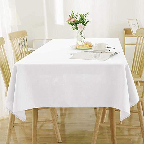 Cxssxling - Mantel Rectangular Antimanchas, Mantel de PVC, Color Blanco, 137 x 274 cm, Mantel de plástico, Mantel Encerado, Mantel de Vinilo