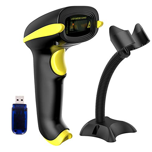 NADAMOO Wireless Barcode Scanner Compatible with Bluetooth, USB 1D Bar Code Reader for Inventory Management, Work with Windows/Mac OS/Linux Computer, Made for iPhone, iPad, and Android