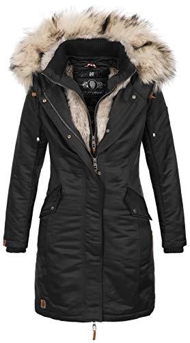 Navahoo Damen Winter Jacke Parka Mantel Winterjacke warm Kunstfell Premium B664 [B664-Day-Schwarz-Gr.L]