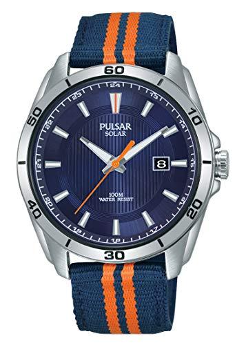 Pulsar Sport Herren-Uhr Solar Edelstahl mit Textilband PX3175X1