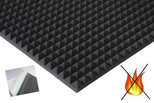 lulushop Pyramiden-Schaumstoff-Daemmung-platten Dämmung Schaumstoff SELBSTKLEBEND Akustik Flammhemend PC ca.100 x 50 x 3 cm Anthrazit/Schwarz (Mit Selbstklebend)