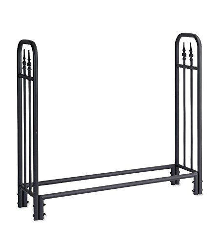 Plow & Hearth 10116 Medium Heavy-Duty Steel Wood Rack, 47L x 14W x 44H, Black