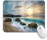 KAPANOUマウスパッド 自然の海海景組成岩波曇り空ライジングサンビーチ写真 ゲーミング オフィス おしゃれ 防水 耐久性が良い 滑り止めゴム底 ゲーミングなど適用 マウス 用ノートブックコンピュータマウスマット