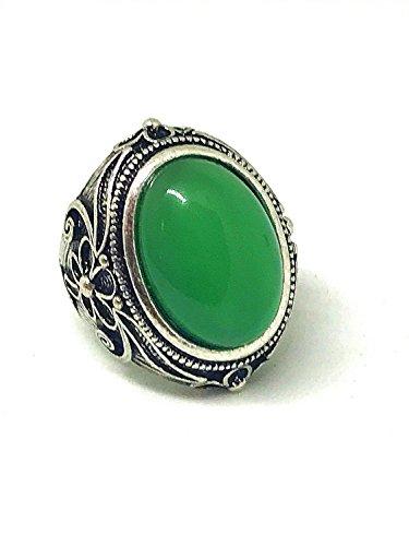 yigedan Damen Ring, rund, grüner Jadestein, Kristall, Vintage, Retro, Silber