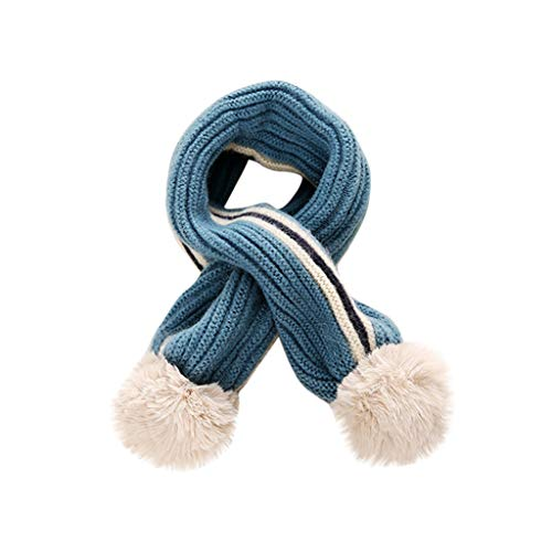 SUCES Winter Schals für Kinder Jungen Mädchen Outdoor Strickschal Winterschal Dicke Warme gestrickte Steck-Schal mit Bommel Kinderschal Skifahren Wandern