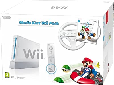 Nintendo Wii Console (White) with Mario Kart: Includes White Wii Wheel and Wii Remote