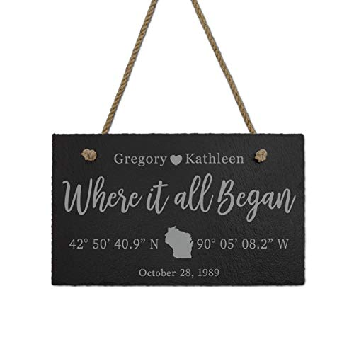 Where it all Began GPS Coordinates Sign - Personalized Anniversary Gift - Custom Coordinates Sign - Unique Wedding Gift- Anniversary Present