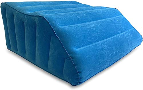 Comfort Axis Inflatable Portable Bed Wedge Pillow with Velour Surface for Elevating Legs