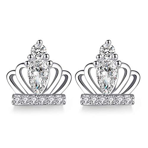 Vvff Pendientes De Corona De Princesa De Circonita Plateada De Gran Marca Para Mujer