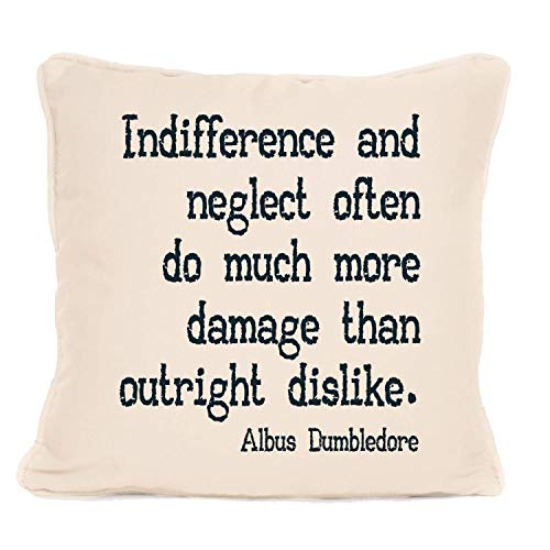 Albus Dumbledore - Cojín con almohadilla con frase 'Indiferencia y neglect a menudo' (45,7 x 45,7 cm)