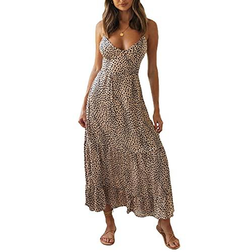 Olisenci Vestito estivo da donna, sexy, leopardato, con stampa a pois, con scollo a V, senza maniche, senza maniche, cachi, M