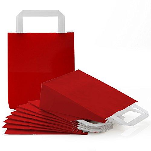 25 kleine rot dunkelrot weinrot bordeux Papiertüte Papiertasche Geschenktüte 18 x 8 x 22 cm Tüte Weihnachten Weihnachtstüte Verpackung Geschenk weihnachtlich Geschenk-Beutel