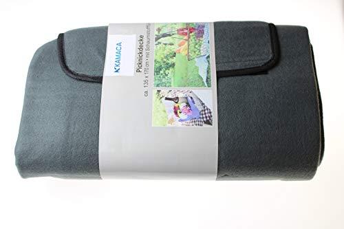 Kamaca Picknickdecke Campingdecke Polarfleece mit wasserabweisender Unterseite Tragegriff 135 x 170 cm platzsparend faltbar (ANTHRAZIT Uni)