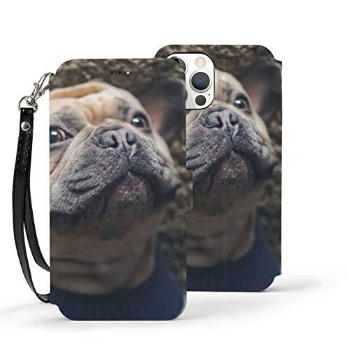 Ip12pro Max-6.7 Funda de cuero Flip Phone Wallet Cover a prueba de golpes lindo Bulldog perro protector con ranura para tarjeta titular Kickstand