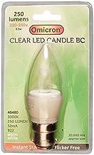Omicron 3.5 Watt Clear Candle BC LED Energy Saving Light Bulb, B22, White