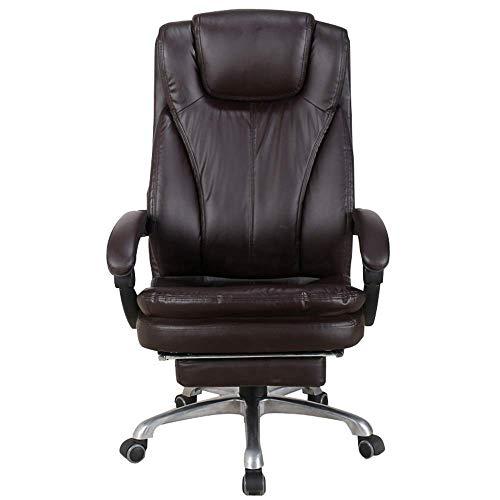 WSDSX Stuhl Home Office Schreibtischstuhl 150 ° verstellbares Design Boss-Stuhl mit hoher Rückenlehne Drehbarer Drehstuhl Lagergewicht 200 kg Schwarz/Braun (Farbe: Schwarz)