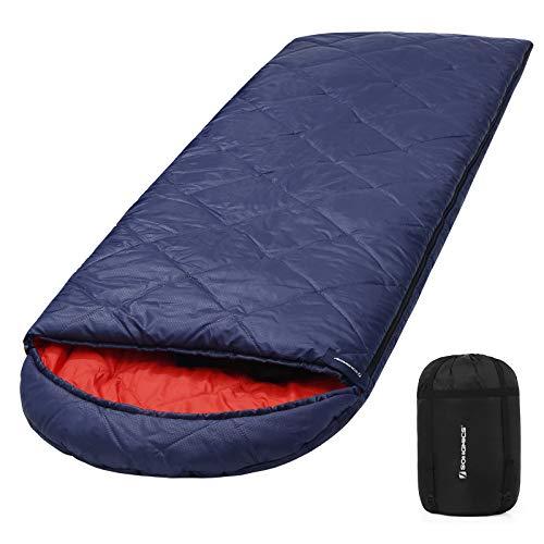 SONGMICS Saco de Dormir con Bolsa de Compresión, 4 Estaciones, Fácil