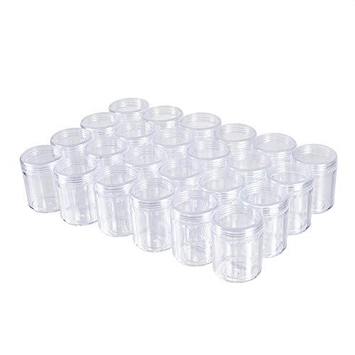 BENECREAT 24 Pack (40ml) Recipiente Vacío de Almacenamiento Bote de Plástico Transparente con Tapas de Rosca para Cuentas,Brillo,Maquillaje,Cosmeticos y Crema