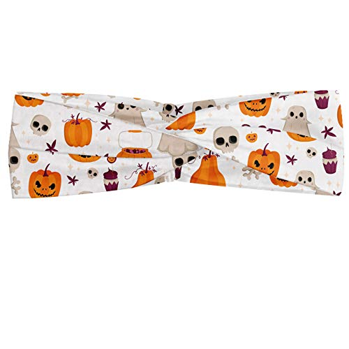 ABAKUHAUS - Pañuelo para el cuello, diseño de cráneo de calabaza y otros elementos inspirados en fiestas de Halloween, elástico y agradable, accesorios para el día a día, multicolor