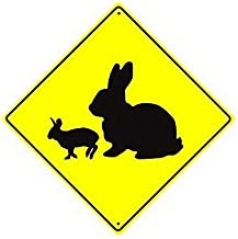 Wodiy Rabbit with Kit Crossing Xing with Graphic Animal Bunny Caution Crossing Sign Funny Yellow Diamond 12x12 Home Wall Decor Metal Sign