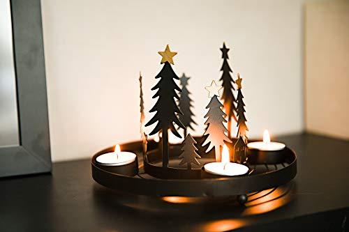 HEITMANN DECO runder Teelicht-Kerzenhalter aus Metall - Advents-Teelichthalter - Kerzenständer für 4 Teelichter - schwarz