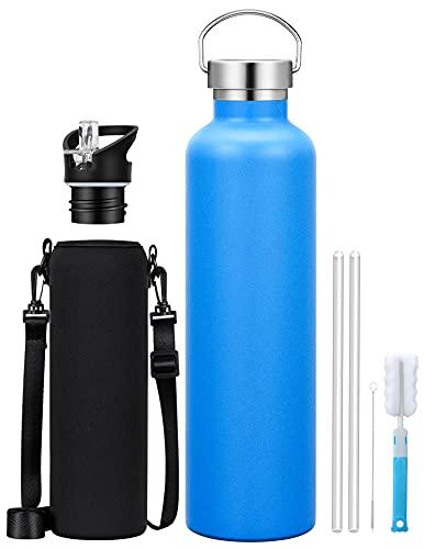 Borraccia Termica 1L, Bottiglia Acqua in Acciaio Inox Isolamento Senza Anti-Condensazione Freddo 28 Ore & Caldo 14 Ore, 2 Cappuccio Intercambiabili, per Scuola, Sport, Campeggio, Palestra, Ciclismo