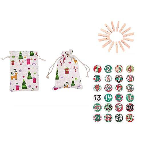 Adventskalender jute 24 dagen DIY adventskalender Kerstmis geschenktas voor kinderen afneembare decoratie en 24 kalenderzakken, 3 kleurzakken, snoep en sieradenzakjes