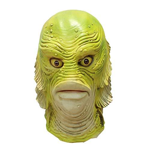 NANUNU Monster-Fisch-Kopf-Mund-Abdeckung Halloween Latex Fisch den Kopf voller Mundschutz-Partei-Kostüm Halloween Cosplay Werkzeuge