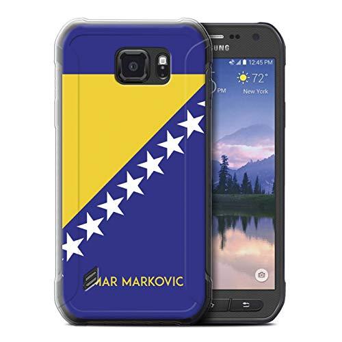 eSwish Personalisiert Persönlich National Nation Flagge 2 Gel/TPU Hülle für Samsung Galaxy S6 Active/G890 / Bosnien und Herzegowina Design/Initiale/Name/Text Schutzhülle/Hülle/Etui