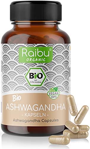 Raibu® Ashwagandha Kapseln BIO (270 x 665mg) Entspricht 1995mg pro Tagesdosis Hochdosiert I Ashwaganda Schlafbeere in bester Bio Qualität ohne Zusätze in Deutschland hergestellt